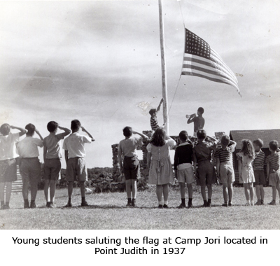 Young Students Saluting the Flag at Camp Jori in Point Judith, RI in 1937